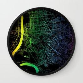 Baton Rouge, LA, USA, City, Map, Rainbow, Map, Art, Print Wall Clock