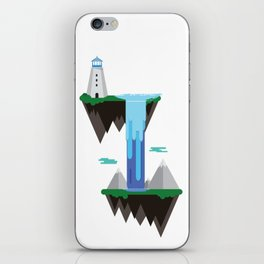 Floating islands with lighthouse iPhone Skin