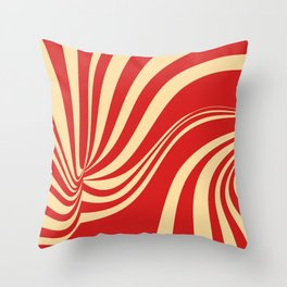 Movement in Red and Cream II Throw Pillow