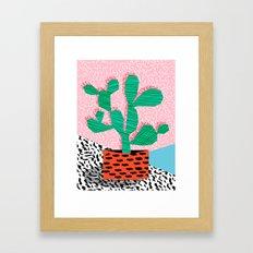 Cool Hang - cactus minimal retro memphis design 1980s 80s style dots pattern pink neon desert art Framed Art Print