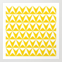 Mid Century Modern Triangle Pattern 531 Yellow Art Print