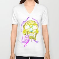 gore V-neck T-shirts featuring SKULL-GORE by scarecrowoven