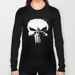 Punisher White Paint Splatter Skull Graphic bike  T-Shirts Long Sleeve T-shirt