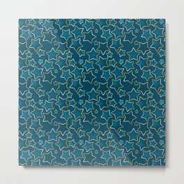 Blue shabby stars on a blue background . Metal Print