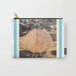 """""""Eat, beach, sleep"""" California sandy beach with seashell photo Carry-All Pouch"""