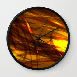 Saturated bronze and smooth sparkling lines of metal tapes on the theme of space and abstraction. Wall Clock