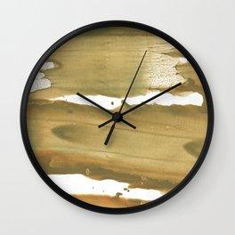 Dark khaki colored wash drawing paper Wall Clock