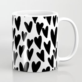 hearts love valentines day minimal black and white pattern gifts Coffee Mug