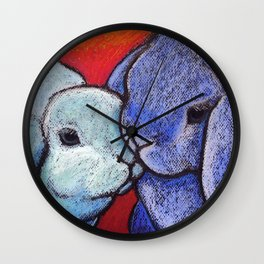 Blue Bunnylove Wall Clock