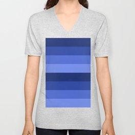 Blue Shades - Stripes Minimal Pattern Unisex V-Neck