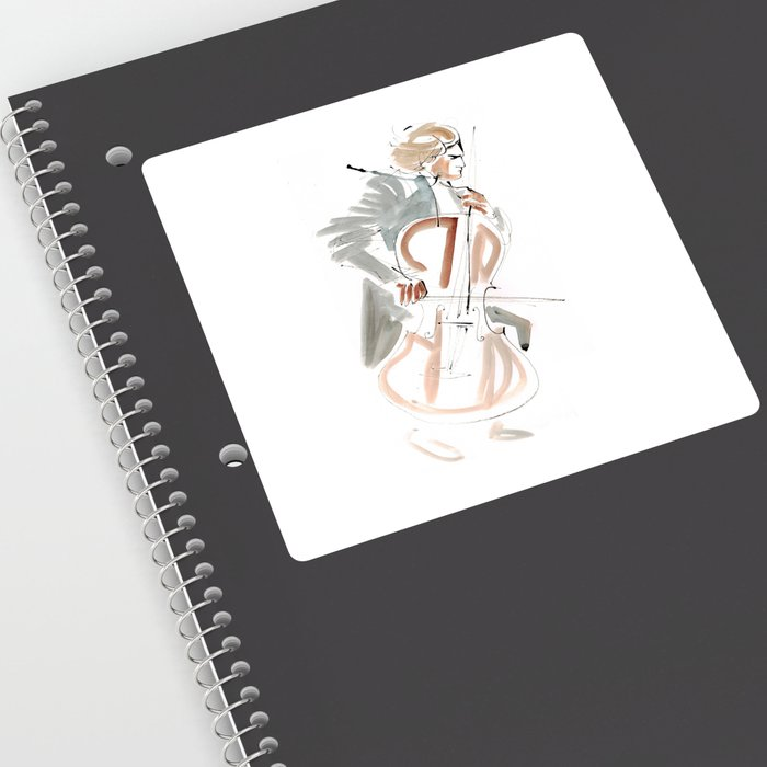 Cello Player Musician Expressive Drawing Sticker