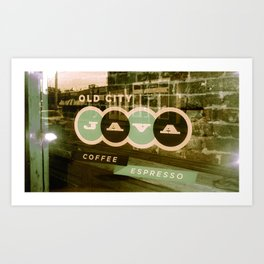 Old City Java Sign in Mint Art Print