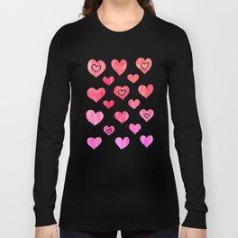 Hot Pink, Melon & Magenta Watercolor Abstract Long Sleeve T-shirt
