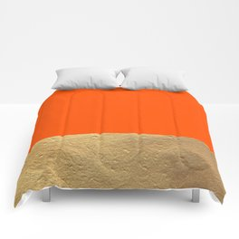 Color Blocked Gold & Poppy Comforters
