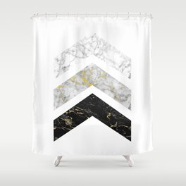 Gold Flecked Marble Chevrons Shower Curtain