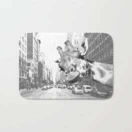 Black and White Selfie Giraffe in NYC Bath Mat