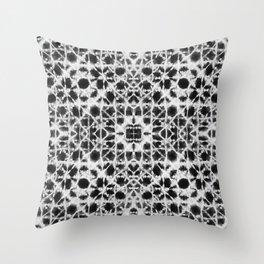 Shibori black stripes crosses Throw Pillow