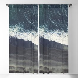 The black sand beach in Iceland. Aerial view and top view. Beautiful natural ocean photo Blackout Curtain