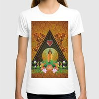 surfboard T-shirts featuring Surfboard with flowers  by nicky2342
