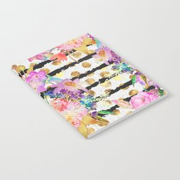 Elegant spring flowers and stripes design Notebook