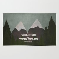twin peaks Area & Throw Rugs featuring Welcome to Twin Peaks by avoid peril