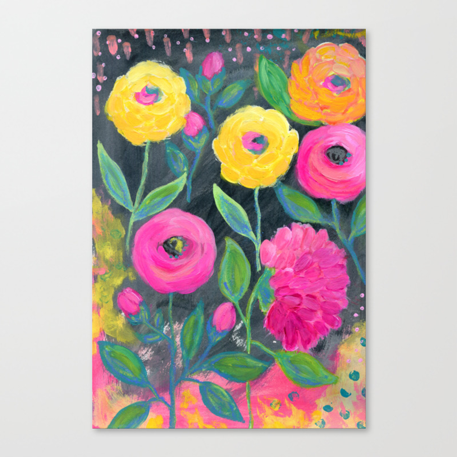 Yellow And Pink Flowers With Dark Background Floral Painting