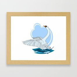 Beautiful swan Framed Art Print