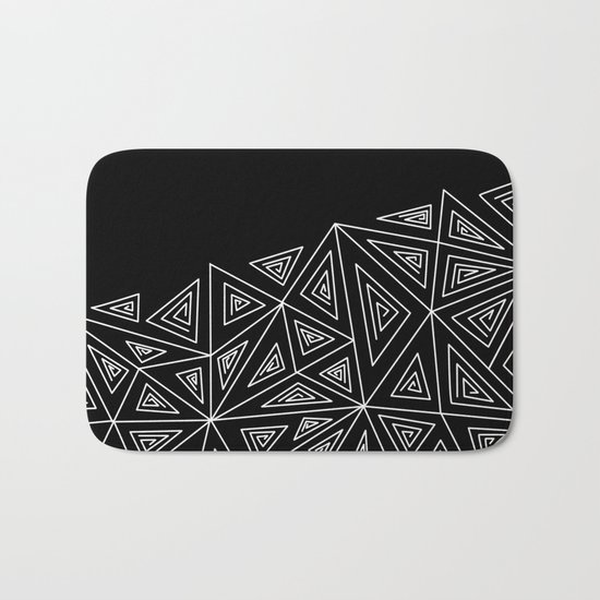 Abstract black and white pattern.Triangles 2 . Bath Mat