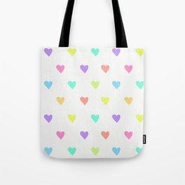 Cute Pastel Rainbow Hearts Pattern Tote Bag