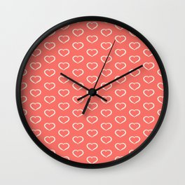Cute little hearts on blush background Wall Clock