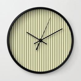Mattress Ticking Narrow Striped Pattern in Dark Black and Cream Wall Clock