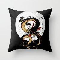 dragon ball Throw Pillows featuring Black Dragon by TxzDesign