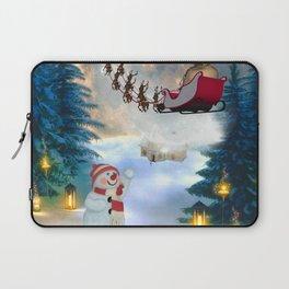 Christmas, snowman with Santa Claus Laptop Sleeve