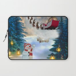 Christmas, snowman with Santa Claus Laptop Sleeve