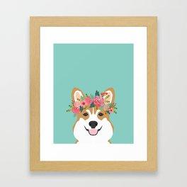 Corgi Portrait - dog with flower crown cute corgi dog art print Framed Art Print