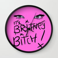 britney spears Wall Clocks featuring Britney Spears Eyes by Alli