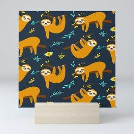 Cute Animal Lover Sloth Hanging Around Being Cool Pattern Design Mini Art Print