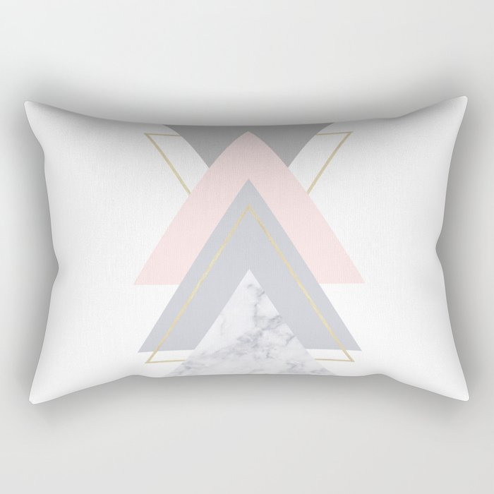 Blush Marble Gray Gold Geometric Pattern Rectangular Pillow