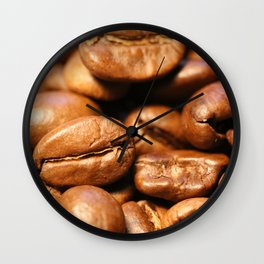Roasted coffee beans macro Wall Clock
