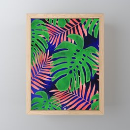Plant green and coral Framed Mini Art Print