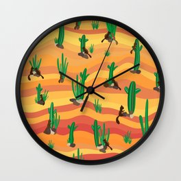 Squirrel in the desert with cactus Wall Clock