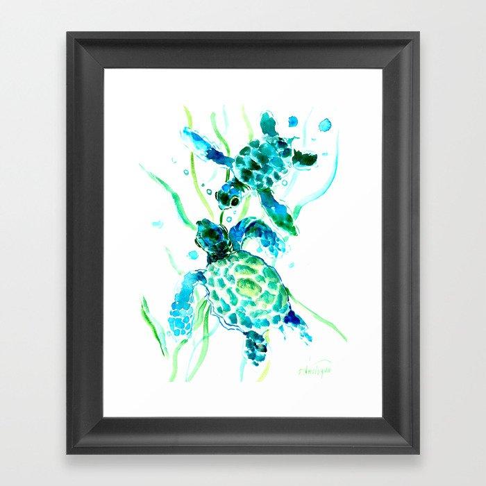 Sea Turtles, Turquoise blue Design Gerahmter Kunstdruck