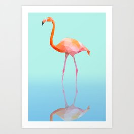 Low Poly Flamingo with reflection Art Print