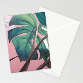 Monsteras on Pink II Stationery Cards