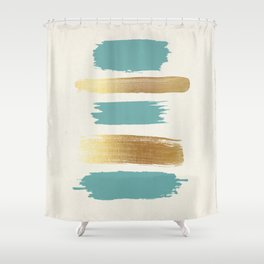 Brush Strokes (Teal/Gold) Shower Curtain