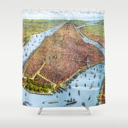 Vintage Pictorial Map of New York City (1879) Shower Curtain