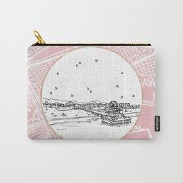 Santa Monica Pier, California City Skyline Illustration Drawing Carry-All Pouch
