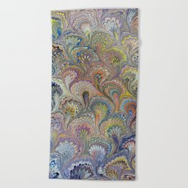 Peacock Water Marbling Beach Towel