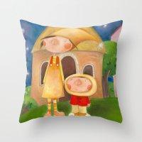 mom Throw Pillows featuring Mom by Gabriela Granados