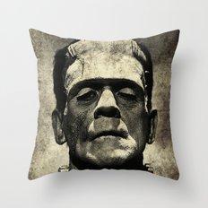 Frankenstein Grunge Throw Pillow